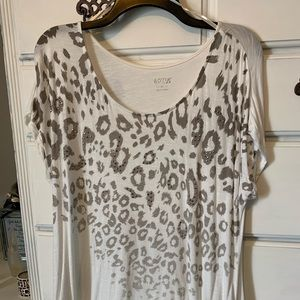 White tee with animal print and stud accents